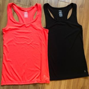 2 Danskin Now Black & Coral T-Back Tanks Medium